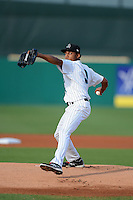 Jupiter Hammerheads pitcher Angel Sanchez (9) during a game against the Tampa Yankees on July 17, 2013 at Roger Dean Stadium in Jupiter, Florida.  Jupiter defeated Tampa 4-3.  (Mike Janes/Four Seam Images)