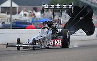 Aug. 20, 2011; Brainerd, MN, USA: NHRA top fuel dragster driver Larry Dixon during qualifying for the Lucas Oil Nationals at Brainerd International Raceway. Mandatory Credit: Mark J. Rebilas-