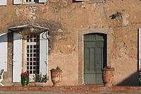 Chateau Villerambert-Julien near Caunes-Minervois. Minervois. Languedoc. A door. France. Europe.