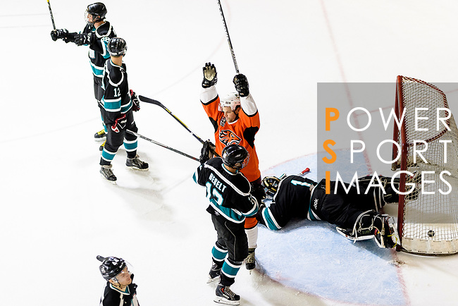 Simon Forgeson of HK Tigers (C) celebrates after scoring during the Mega Ice Hockey 5s match between Cathay Flyers and HK Tigers on May 04, 2018 in Hong Kong, Hong Kong. Photo by Marcio Rodrigo Machado / Power Sport Images