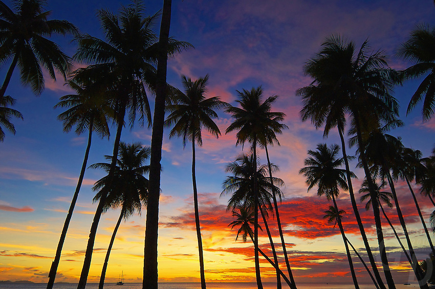 The perfect sunset at the Blue Lagoon on the island of Chuuk also know as Truk Lagoon in Micronrsia South Pacific