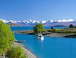 New Zealand, South Island, Lake Tekapo: Lake Overview with Church of the Good Shepherd | Neuseeland, Suedinsel, Lake Tekapo: rechts die Church of the Good Shepherd