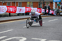 3rd October 2021; London, England: The Virgin Money 2021 London Marathon: Michelle Wheeler of USA crossing Narrow Street Swing Bridge, Limehouse Basin between mile 14 and 15.