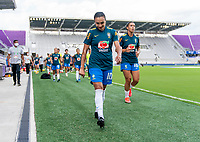 ORLANDO, FL - FEBRUARY 18: Marta #10 of Brazil walks off the field before a game between Argentina and Brazil at Exploria Stadium on February 18, 2021 in Orlando, Florida.