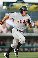 Greg Miclat #1 of the Frederick Keys at bat during a game against the Myrtle Beach Pelicans on May 1, 2010 in Myrtle Beach, SC.