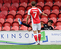 Lincoln City's Brennan Johnson falls over the advertising boards<br /> <br /> Photographer Chris Vaughan/CameraSport<br /> <br /> The EFL Sky Bet League One - Fleetwood Town v Lincoln City - Saturday 17th October 2020 - Highbury Stadium - Fleetwood<br /> <br /> World Copyright © 2020 CameraSport. All rights reserved. 43 Linden Ave. Countesthorpe. Leicester. England. LE8 5PG - Tel: +44 (0) 116 277 4147 - admin@camerasport.com - www.camerasport.com