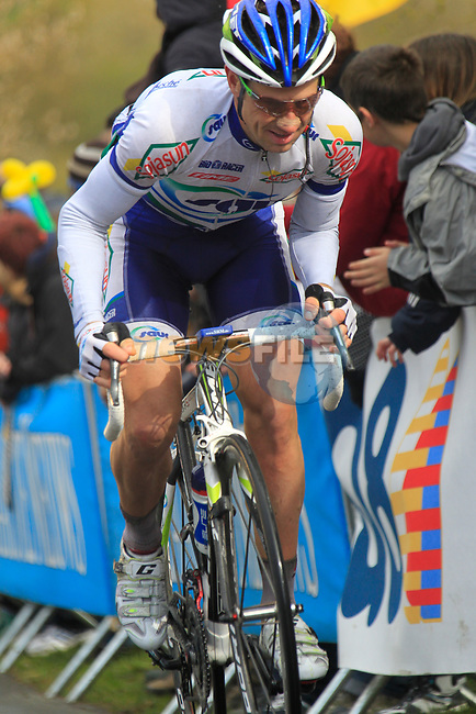 David le Lay (FRA) Saur-Sojasun climbs the Cote de la Redoute during the 98th edition of Liege-Bastogne-Liege, running 257.5km from Liege to Ans, Belgium. 22nd April 2012.  <br /> (Photo by Eoin Clarke/NEWSFILE).