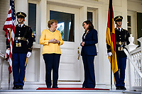 United States Vice President Kamala Harris welcomes Chancellor Dr. Angela Merkel of Germany to the Vice President's residence at One Observatory Circle for a working breakfast on Thursday, July 15, 2021.<br /> <br /> CAP/MPI/RS<br /> ©RS/MPI/Capital Pictures