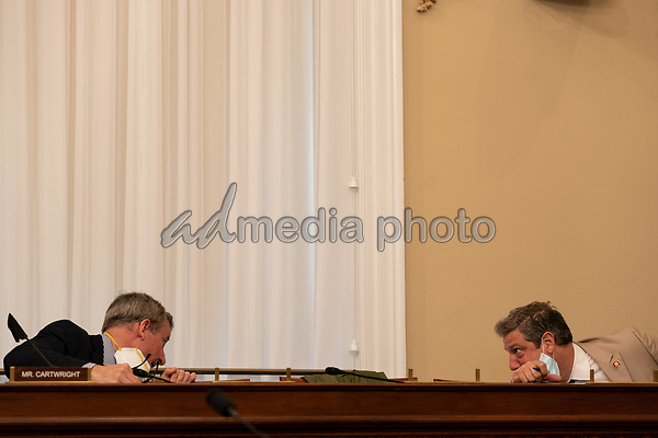 United States Representative Tim Ryan (Democrat of Ohio), right, and US Representative Matt Cartwright (Democrat of Pennsylvania), while socially distant, speak to one another during a hearing with the US House Appropriations Subcommittee on Military Construction, Veterans Affairs, and Related Agencies on Capitol Hill in Washington DC, on May 28th, 2020.<br /> Credit: Anna Moneymaker / Pool via CNP/AdMedia