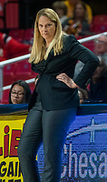 COLLEGE PARK, MD - NOVEMBER 20: Coach Brenda Frese of Maryland during a game between George Washington University and University of Maryland at Xfinity Center on November 20, 2019 in College Park, Maryland.