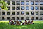 October 13, 2021; Class held outdoors behind O'Shaughnessy Hall.  (Photo by Barbara Johnston/University of Notre Dame)