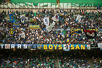 Milan, Italy - september 18 2021 - inter supporters with flags Serie A match Inter- Bologna San Siro stadium
