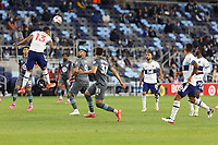 SAINT PAUL, MN - MAY 12: Derek Cornelius #13 of Vancouver Whitecaps FC heads the ball during a game between Vancouver Whitecaps and Minnesota United FC at Allianz Field on May 12, 2021 in Saint Paul, Minnesota.
