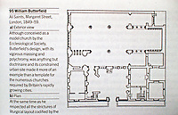 Plan of All Saints, Margaret Street, London, 1849-59. Designed by William Butterfield. Conceived as a model church by the Ecclesiological Society.