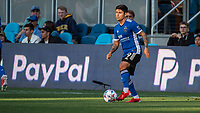 SAN JOSE, CA - JULY 24: Javier Eduardo Lopez #9 of the San Jose Earthquakes dribbles the ball during a game between San Jose Earthquakes and Houston Dynamo at PayPal Park on July 24, 2021 in San Jose, California.