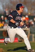 University of Virginia Cavaliers catcher Matt Thaiss (21) at bat during a game against the Kent State Golden Flashes at Ticketreturn.com Field at Pelicans Ballpark on February 19, 2016 in Myrtle Beach, South Carolina. Virginia defeated Kent State 8-6. (Robert Gurganus/Four Seam Images)
