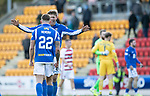 St Johnstone v Hamilton Accies…26.10.19   McDiarmid Park   SPFL<br />Murray Davidson celebrates with Callum Hendry at full time<br />Picture by Graeme Hart.<br />Copyright Perthshire Picture Agency<br />Tel: 01738 623350  Mobile: 07990 594431
