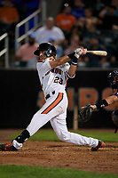 Aberdeen IronBirds Dalton Hoiles (23) bats during a NY-Penn League game against the Vermont Lake Monsters on August 19, 2019 at Leidos Field at Ripken Stadium in Aberdeen, Maryland.  Aberdeen defeated Vermont 6-2.  (Mike Janes/Four Seam Images)