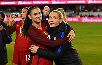 San Jose, CA - Sunday November 12, 2017: Alex Morgan, Allie Long during an International friendly match between the Women's National teams of the United States (USA) and Canada (CAN) at Avaya Stadium.