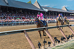 West Coast (no. 3), ridden by Mike Smith and trained by Bob Baffert, wins the 148th running of the grade 1 Travers Stakes for three year olds on August 26, 2017 at Saratoga Race Course in Saratoga Springs, New York. (Robert Simmons/Eclipse Sportswire)