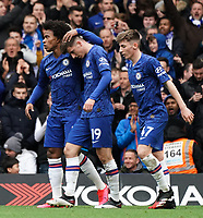 Chelsea's Mason Mount celebrates scoring his side's goal with team-mate Willian<br /> <br /> Photographer Stephanie Meek/CameraSport<br /> <br /> The Premier League - Chelsea v Everton - Sunday 8th March 2020 - Stamford Bridge - London<br /> <br /> World Copyright © 2020 CameraSport. All rights reserved. 43 Linden Ave. Countesthorpe. Leicester. England. LE8 5PG - Tel: +44 (0) 116 277 4147 - admin@camerasport.com - www.camerasport.com