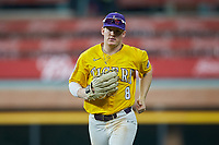LSU Tigers right fielder Daniel Cabrera (8) jogs off the field between innings of the game against the Oklahoma Sooners in game seven of the 2020 Shriners Hospitals for Children College Classic at Minute Maid Park on March 1, 2020 in Houston, Texas. The Sooners defeated the Tigers 1-0. (Brian Westerholt/Four Seam Images)