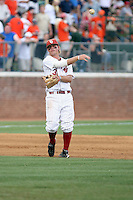 Garrett Buechele of the Oklahoma Sooners playing in Game Two of the NCAA Super Regional tournament against the Virginia Cavaliers at Charlottesville, VA - 06/13/2010. Oklahoma defeated Virginia, 10-7, to tie the series after two games.  Photo By Bill Mitchell / Four Seam Images