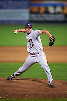 Auburn Doubledays pitcher Sam Johns (28) delivers a pitch during a game against the Batavia Muckdogs on September 5, 2015 at Dwyer Stadium in Batavia, New York.  Batavia defeated Auburn 6-3.  (Mike Janes/Four Seam Images)