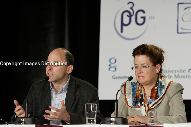Montreal (QC) CANADA, May 22 2007-<br /> Dr Thomas J Hudson, scientific Director, P3G and <br /> Prof Bartha-Maria Knoppers, Canada research Chair in Law and Medicine at the University of Montreal speak at the<br /> Press conference of P3G (public Population Projet) in Genomics to foster harmonization genomic data collection and to share those datas.<br /> <br /> photo : (c) Pierre Roussel -  images Distribution