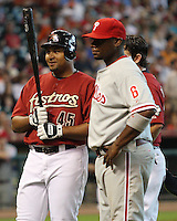 Astros OF Carlos Lee and Phillie 1B Ryan Howard on Sunday May 25th at Minute Maid Park in Houston, Texas. Photo by Andrew Woolley / Baseball America.