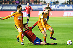 "Eibar's Cristian Rivera, -luna, and Club Atletico Osasuna's Oier Sanjurjo  during the match of ""Copa del Rey"" between CA Osasuna and Eibar at El Sadar Stadium in Pamplona. January 03 2017. (ALTERPHOTOS/Rodrigo Jimenez)"