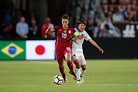 Carson, CA - Thursday August 03, 2017: Carli Lloyd, Rin Sumida during a 2017 Tournament of Nations match between the women's national teams of the United States (USA) and Japan (JPN) at the StubHub Center.