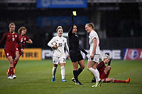 Columbus, Ohio - Thursday March 01, 2018: Melissa Borjas, Tabea Kemme during a 2018 SheBelieves Cup match between the women's national teams of the United States (USA) and Germany (GER) at MAPFRE Stadium.