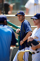 Montgomery Biscuits pitcher Greg Harris (27) in the dugout during a game against the Mississippi Braves on April 25, 2017 at Montgomery Riverwalk Stadium in Montgomery, Alabama.  Mississippi defeated Montgomery 3-2.  (Mike Janes/Four Seam Images)
