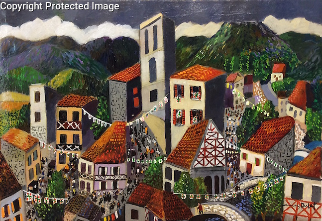 National Holiday in the Basque Country<br /> 20x28 Acrylic on Canvas Original Painting<br /> $12,000