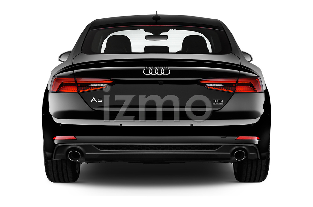 Straight rear view of 2019 Audi A5-Sportback Premium 5 Door Hatchback Rear View  stock images