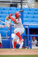 Clearwater Threshers designated hitter Wilson Garcia (10) at bat during a game against the Dunedin Blue Jays on April 8, 2018 at Dunedin Stadium in Dunedin, Florida.  Dunedin defeated Clearwater 4-3.  (Mike Janes/Four Seam Images)