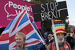 Peoples Vote Campaign demonstration Pro Europe campaigners Stop Brexit elderly older couple. Brexit Super Saturday 19 October 2019  Parliament Square Westminster London UK.