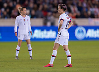 HOUSTON, TX - JANUARY 31: Megan Rapinoe #15 of the United States waits to take a free kick during a game between Panama and USWNT at BBVA Stadium on January 31, 2020 in Houston, Texas.