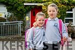 Laoise Rose and Shónagh Griffin on their first day of school at Scoil Nuachabháil, Ballymacelligott.