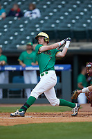 Nick Podkul (7) of the Notre Dame Fighting Irish follows through on his swing against the Florida State Seminoles in Game Four of the 2017 ACC Baseball Championship at Louisville Slugger Field on May 24, 2017 in Louisville, Kentucky. The Seminoles walked-off the Fighting Irish 5-3 in 12 innings. (Brian Westerholt/Four Seam Images)