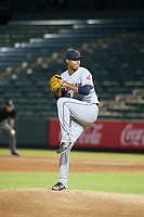 AZL Indians starting pitcher Luis Oviedo (59) delivers a pitch during a game against the AZL Angels on August 7, 2017 at Tempe Diablo Stadium in Tempe, Arizona. AZL Indians defeated the AZL Angels 5-3. (Zachary Lucy/Four Seam Images)