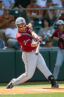 Oklahoma Sooners designated hitter Matt Oberste #14 fouls off a pitch against the Texas Longhorns in the NCAA baseball game on April 6, 2013 at UFCU DischFalk Field in Austin, Texas. The Longhorns defeated the rival Sooners 1-0. (Andrew Woolley/Four Seam Images).