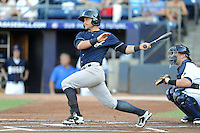 Empire State catcher Francisco Cervelli #3 swaits a pitch during a game against the Durham Bulls  at Durham Bulls Athletic Park on June 8, 2012 in Durham, North Carolina . The Yankees defeated the Bulls 3-1. (Tony Farlow/Four Seam Images).