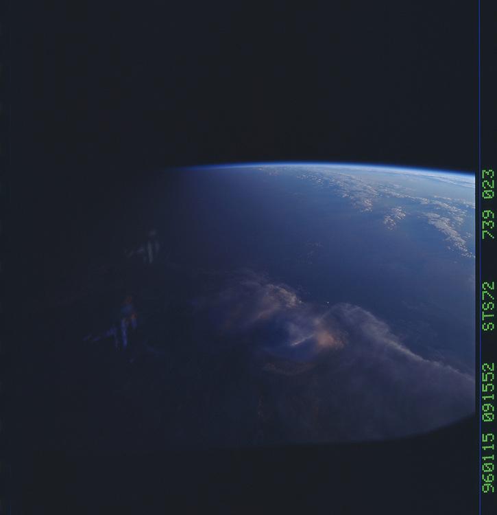 John Angerson. STS-72 Book.<br /> Public Domain Image.<br /> NASA images Courtesy National Archives - Record Group number: 255-STS-STS072<br /> Description: Earth observations taken from shuttle orbiter Endeavour during STS-72 mission.<br /> <br /> Subject Terms: STS-72, ENDEAVOUR (ORBITER), EARTH OBSERVATIONS (FROM SPACE), EARTH LIMB<br /> <br /> Date Taken: 1/15/1996<br /> <br /> Categories: Earth Observations<br /> <br /> Interior_Exterior: Exterior<br /> <br /> Ground_Orbit: On-orbit<br /> <br /> Original: Film - 70MM CT<br /> <br /> Preservation File Format: TIFF<br /> <br /> feat: DARK EARTHOBS<br /> <br /> tilt: High Oblique<br /> <br /> nlat: -16.3<br /> <br /> nlon: 139.3<br /> <br /> azi: 248<br /> <br /> alt: 164<br /> <br /> elev: 0