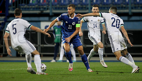 8th October 2020, Sarajevo Bosnia; European International Football Championships playoff,  Bosnia and Herzegovina versus Northern Ireland;  Edin Dzeko Bosnia and Herzegovina takes on Johny Evans of Northern Ireland