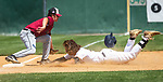 WATERBURY, CT 073121JS15 Midland's Cody Wells (14) slides into third in front of the tag by South Troy's Jacob Skarlis (17) during their Mickey Mantle World Series baseball game against South Troy Saturday at Municipal Stadium in Waterbury. <br /> Jim Shannon Republican American