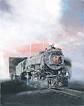 """The #1361 Pennsylvania Railroad K4 steam locomotive emerges from the heavy equipment shop at Steamtown National Historic Site restored and running. Oil on canvas, 20"""" x 16""""."""