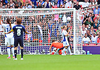 August 06, 2012..Japan's Yuki Ogimi #17 scores against France during Semi Final match at the Wembley Stadium on day ten in Wembley, England. Japan defeats France 2-1 to reach Women's Finals of the 2012 London Olympics.