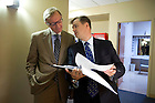 Sept. 4, 2012; Moderator Prof. David Campbell (right) backstage with panelist Rev. Richard Cizik, president of the New Evangelical Partnership for the Common Good, prior to the kick-off event for the 2012-13 Notre Dame Forum: Conviction vs. Compromise: Being a Person of Faith in a Liberal Democracy at the DeBartolo Performing Arts Center. Photo by Barbara Johnston/University of Notre Dame